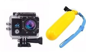 Kit Câmera Go Cam 4k Action Sports + Boia Flutuante Bobber Floaty