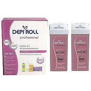 Kit Depilação Depi Roll Sistema Roll-on Profissional + 02 refil Corporal Rosa