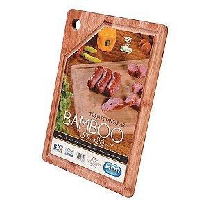 Tabua Cortar Carne Retangular Bambo 35x25 Cm Bambu Churrasco -MOR