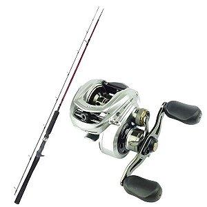 Kit de Pesca Carretilha Lubina Gto 9 Marine Sports -Esquerda + Vara Fibra de Carbono 1,83m - 25lbs