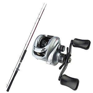Kit de Pesca Carretilha Titan Gto 12000 Marine Sports -Esquerda + Vara Fibra de Carbono 1,83m - 25lbs