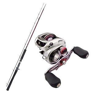 Kit de Pesca Carretilha Brisa Gto 11000 Marine Sports -Esquerda + Vara Fibra de Carbono 1,83m - 25lbs