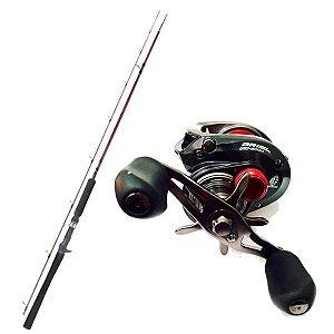 Kit de Pesca Carretilha Brisa Gto 8000 Marine Sports -Esquerda + Vara Fibra de Carbono 1,83m - 25lbs