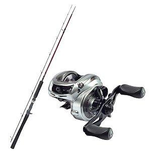 Kit de Pesca Carretilha Brisa Gto 4000 Marine Sports -Esquerda+ Vara Fibra de Carbono 1,83m - 25lbs
