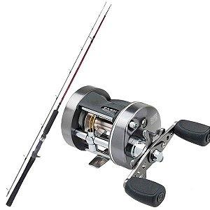 Kit de Pesca Carretilha Caster Plus 400 -Esquerda + Vara Fibra de Carbono 1,83m - 25lbs