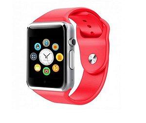 Relógio Smartwatch A1 Original Touch Bluetooth Gear Chip- Vermelho-prata