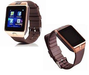 Relógio Bluetooth Smartwatch Dz09 Iphone Android Gear Chip - Marrom-Dourado