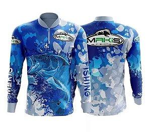 Camiseta De Pesca Com Gola Alta e Ziper, Proteção Solar Uv Makis Fishing Tucunare