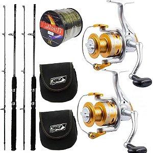 Kit Pesca 2 Molinetes Gold 4000 2 Varas Robalo 25lbs Com 2 Capas de Proteção e 600mts de Linha