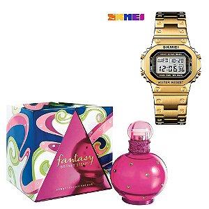 Combo Dia Das Maes Perfume Fantasy Original 100ml Com Relogio SKMEI Retro Moda Digital Assista 1433  Bronze