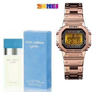 Kit Perfume Light Blue Eau de Toilette Feminino 100ml - D&G Com Relogio SKMEI 1433 Pulso Digital Rose