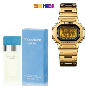 Kit Perfume Light Blue Eau de Toilette Feminino 100ml - D&G Com Relogio SKMEI 1433 Pulso Digital Dourado