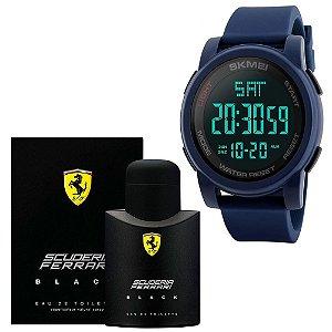 Combo Perfume Scuderia Ferrari Black Eau De Toilette 125 Ml Com Relógio Skmei Esportivo Digital 1257 Azul