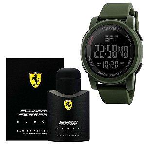 Combo Perfume Scuderia Ferrari Black Eau De Toilette 125 Ml Com Relógio Skmei Esportivo Digital 1257 Verde