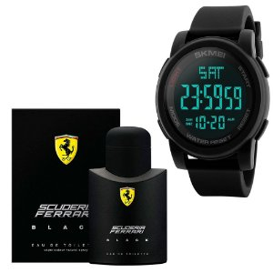 Combo Perfume Scuderia Ferrari Black Eau De Toilette 125 Ml Com Relógio Skmei Esportivo Digital 1257 Preto