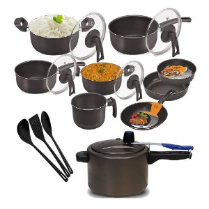 Kit Cozinha Conjunto de Panelas Antiaderente D.Chefa 12 Peças Panela de Pessao 4,5 l e Utensílios