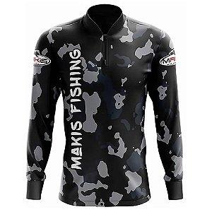 Camiseta De Pesca Proteção Solar Uv50 Makis Fishing Preta Camuflada