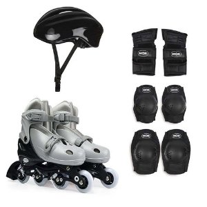 Kit Roller Cinza Tamanho M 34-37 (Roller, Joelheira e Capacete) Ref. 40600104 Mor