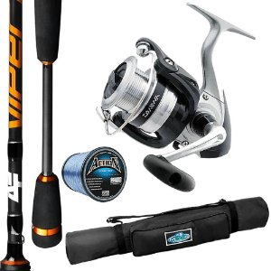 Kit Molinete Strikeforce 4000 Com Vara Albatroz Viper 1,68mts Linha Action e Porta Vara Makis Fishing