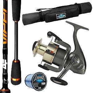 Kit Molinete Xt 4000 Com Vara Albatroz Viper 1,68mts 8-17 Linha Action e Porta Varas Makis Fishing