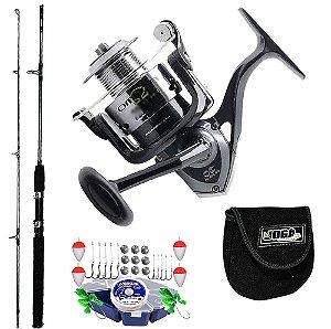 Kit Pesca Molinete Maruri Omega 5000 Vara Taue 1,80mts 30Lbs Capa de Proteção e Estojo Completo