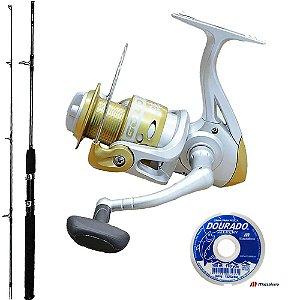 Kit Pesca Com Molinete Maruri Gold 4000 Vara Taue 1,80mts 30Lbs E Linha Dourado