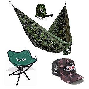 Kit Camping Rede Albatroz Camuflada Banqueta e Boné Makis Fishing Camuflado