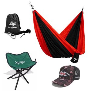 Kit Camping Rede Albatroz Black Red DC-C03 Banqueta e Boné Makis Fishing Camuflado