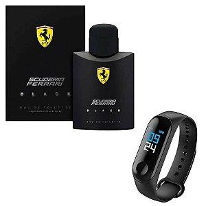 Kit Perfume Ferrari Black 200ml com Relógio  M3 PRETO Lançamento