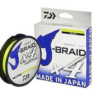 Linha Multifilamento Daiwa J-Braid X4 0,25mm 30lb 270m Amarela