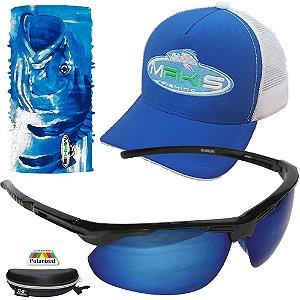 Kit Proteção Makis Com Tube Neck Bone e Oculos DZ6638 Azul