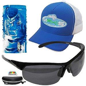 Kit Proteção Solar Makis Tube Neck Bone e Oculos 6551 Preto