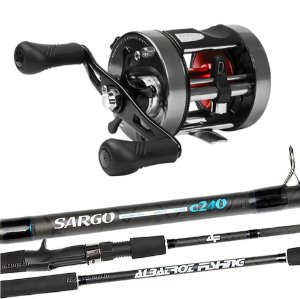 Kit Carretilha Caster Power 400 Com Vara Albatroz Sargo 2,40mts 20-50Lbs
