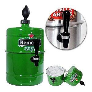 Chopeira Doméstica 5,1 Litros a Gelo Torneira Italiana Vermelha Metálica Heineken