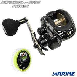 Carretilha Marine Brisa BG Power Com Alarme e Drag 9 Kilos Com Linha Vexter Ultimate Soft 0,37mm