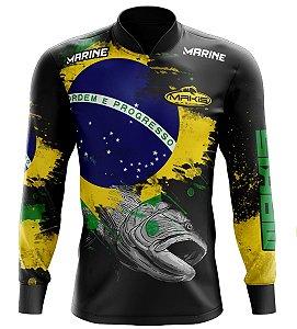 Camisa De Pesca Proteção Solar Uv50 Makis Fishing MK-03 Patriota