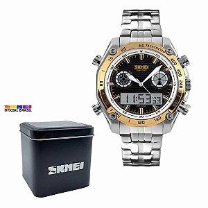 Relógio Masculino Skmei 1204 Analógico e Digital Prata Dourado