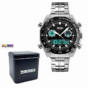 Relógio Masculino Skmei 1204 Analógico e Digital Prata Preto