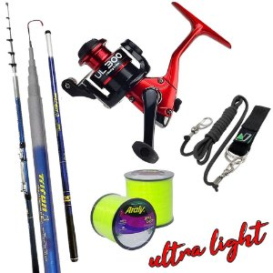 Kit Ultra Light Molinete UL300 Com Vara Triton 2,70mts Salva Vara e 2.600mts de Linha 0,20mm