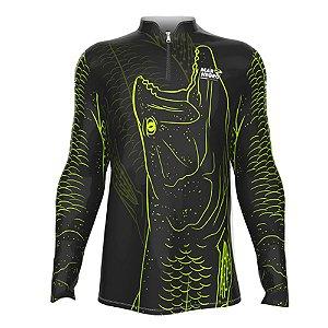 Camiseta de Pesca Mar Negro Traira 1 Com Proteção Solar 50+ UV