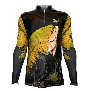 Camiseta de Pesca Mar Negro Tambaqui Com Proteção Solar 50+ UV