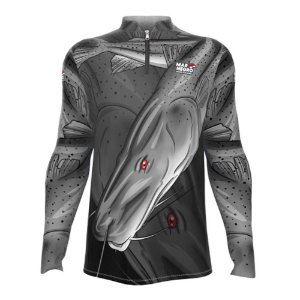 Camiseta de Pesca Mar Negro Pintado Com Proteção Solar 50+ UV