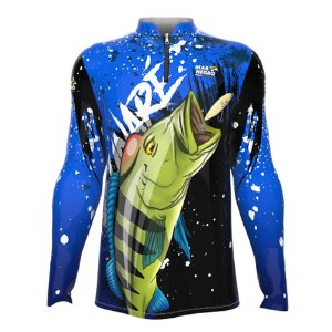 Camiseta de Pesca Mar Negro Tucunaré Azul Com Proteção Solar 50+ UV