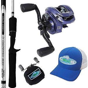 Kit Pesca Carretilha Bronx 10000 Com Vara Diamond 1,68mts Capa e Boné Makis Fishing