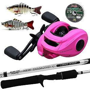 Kit Elas na Pesca Carretilha Montana 10000 Pink com Vara Diamond 1,80mts e 2 Iscas Articuladas e Linha Multi