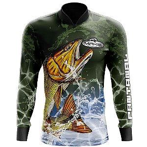 Camisa De Pesca Proteção Solar Uv50 Makis Fishing Dourado Serie Pantanal