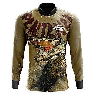 Camisa De Pesca Proteção Solar Uv50 Makis Fishing Jacare Serie Pantanal