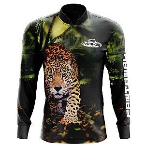 Camisa De Pesca Proteção Solar Uv50 Makis Fishing Onça Pintada Serie Pantanal MK-20