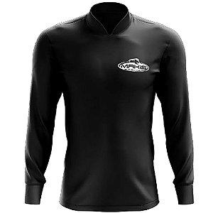 Camisa Esportiva Com Uv50 Makis Fishing Clean Color Preta MK-15