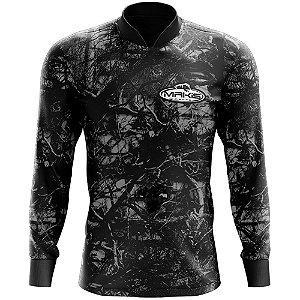 Camisa Esportiva Com Uv50 Makis Fishing Camuflada Preta MK-13